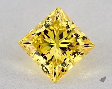 Lab-Created 2.03 Carat FANCY VIVID  YELLOW-VS1 Princess Cut Diamond