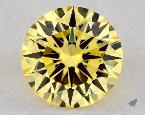 Lab-Created 1.12 Carat FANCY VIVID  YELLOW-VS1 Round Cut Diamond