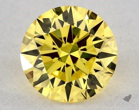 Lab-Created 1.16 Carat FANCY VIVID  YELLOW-VS2 Round Cut Diamond