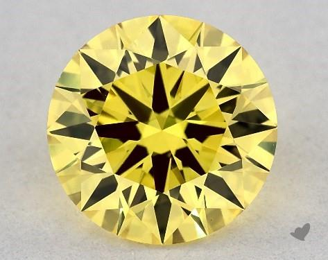 Lab-Created 1.21 Carat FANCY VIVID  YELLOW-VVS2 Round Cut Diamond