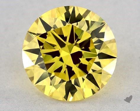 Lab-Created 1.23 Carat FANCY VIVID  YELLOW-VVS2 Round Cut Diamond