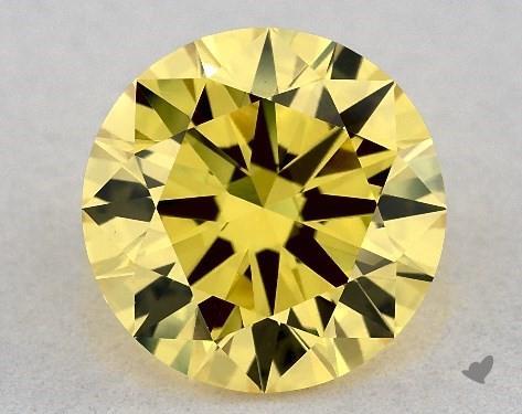 Lab-Created 1.38 Carat FANCY VIVID  YELLOW-VS1 Round Cut Diamond