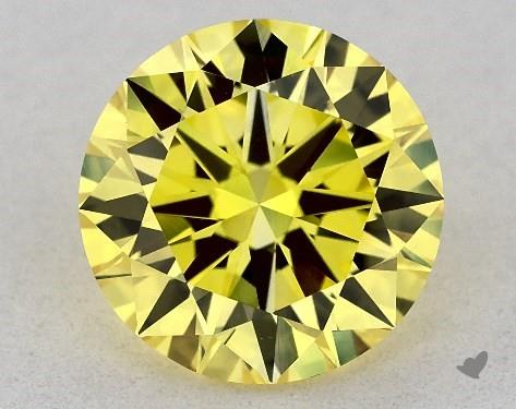 Lab-Created 1.39 Carat FANCY VIVID  YELLOW-VVS2 Round Cut Diamond