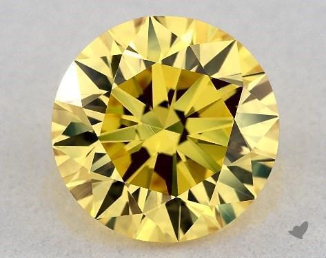 Lab-Created 1.50 Carat FANCY VIVID  YELLOW-VVS2 Round Cut Diamond