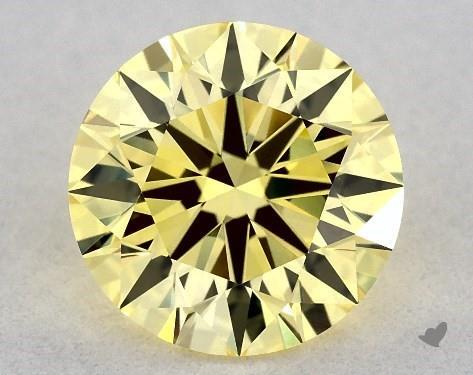 Lab-Created 1.09 Carat FANCY VIVID  YELLOW-VVS2 Round Cut Diamond