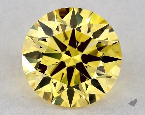 Lab-Created 1.27 Carat FANCY VIVID  YELLOW-VS1 Round Cut Diamond