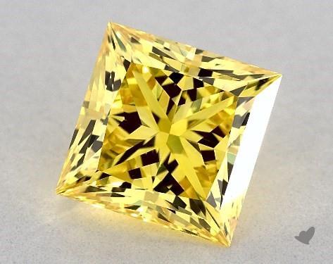 Lab-Created 1.58 Carat FANCY VIVID  YELLOW-VS1 Princess Cut Diamond
