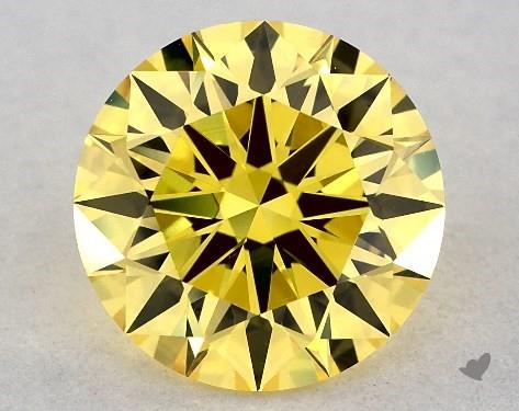 Lab-Created 1.28 Carat FANCY VIVID  YELLOW-VVS2 Round Cut Diamond