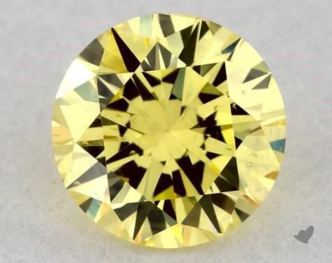 0.29 Carat FANCY INTENSE  YELLOW-SI2 Round Cut Diamond