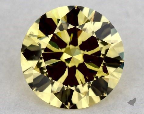 0.44 Carat FANCY  YELLOW-VS2 Round Cut Diamond