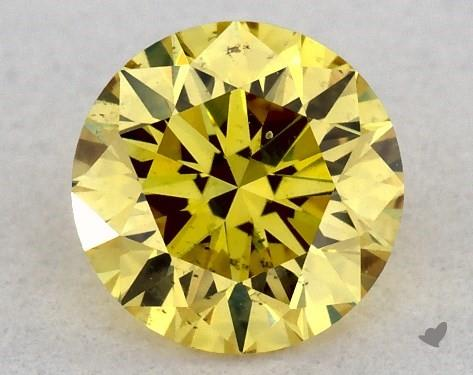 0.32 Carat FANCY INTENSE  YELLOW-SI1 Round Cut Diamond