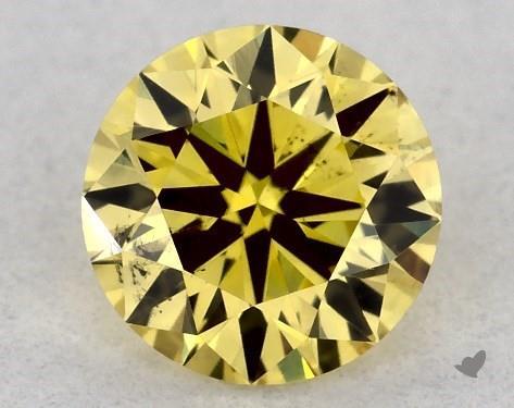 0.32 Carat FANCY INTENSE  YELLOW-SI1 Round Cut Diamond