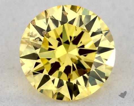 0.30 Carat FANCY INTENSE  YELLOW-SI2 Round Cut Diamond