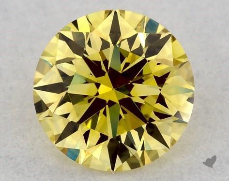 0.31 Carat FANCY  YELLOW-VVS2 Round Cut Diamond