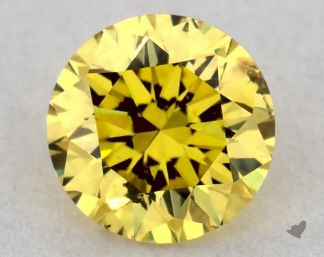 0.31 Carat FANCY INTENSE  YELLOW-I1 Round Cut Diamond
