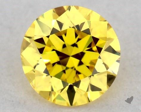 0.30 Carat FANCY VIVID  YELLOW-SI2 Round Cut Diamond