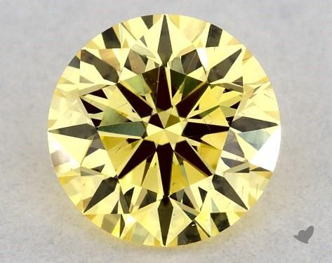 0.34 Carat FANCY INTENSE  YELLOW-SI1 Round Cut Diamond