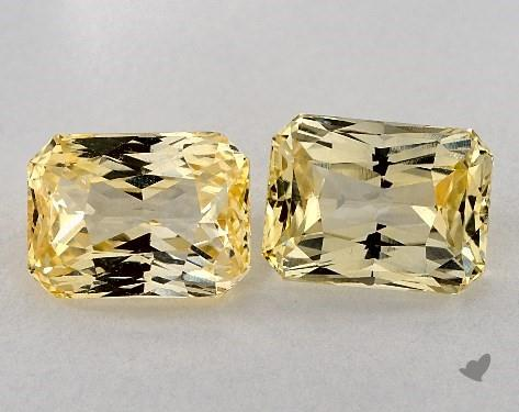 6.42 Total Carat Weight Radiant Natural Yellow Sapphires