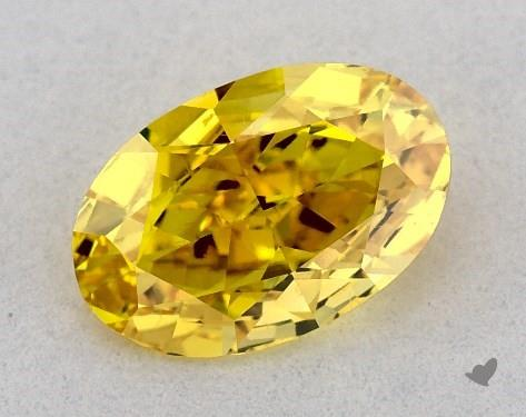 0.51 Carat FANCY VIVID  YELLOW-SI1 Oval Cut Diamond