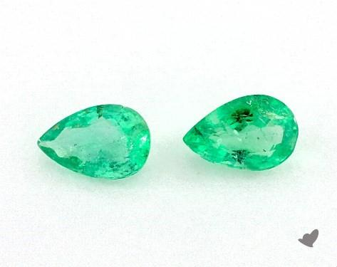 0.77 Total Carat Weight Pear Natural Green Emeralds