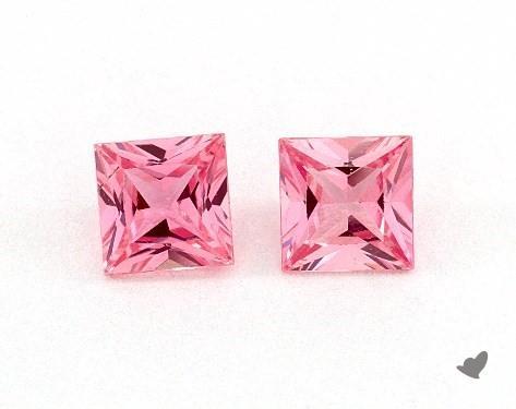 0.80 Total Carat Weight Princess Natural Pink Sapphires