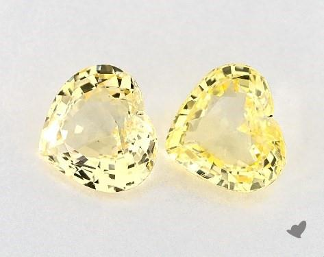 5.83 Total Carat Weight Heart Natural Yellow Sapphires