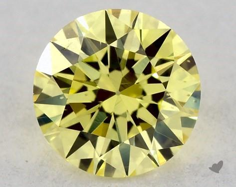 0.32 Carat FANCY INTENSE  YELLOW-VS2 Round Cut Diamond